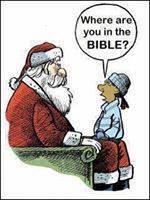 "Image of a child asking Santy, ""Where are you in the Bible?"""